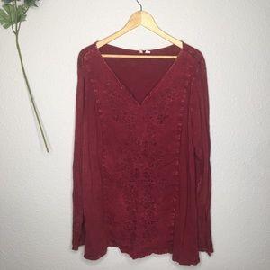 CATO Burgundy Boho Longsleeve Embroidered Vtg Top